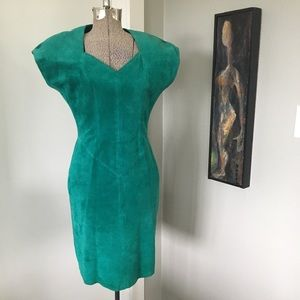 VINTAGE 80's Green Suede Dress